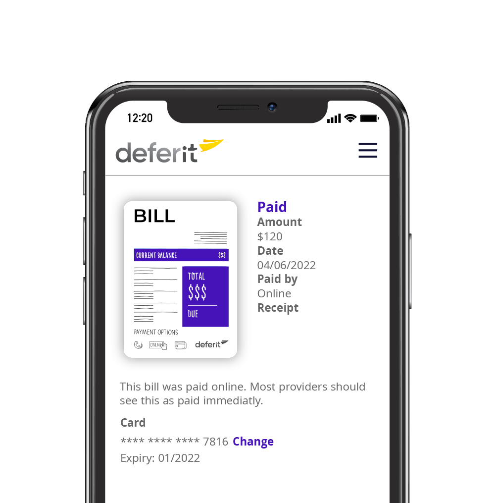 deferit app view bills
