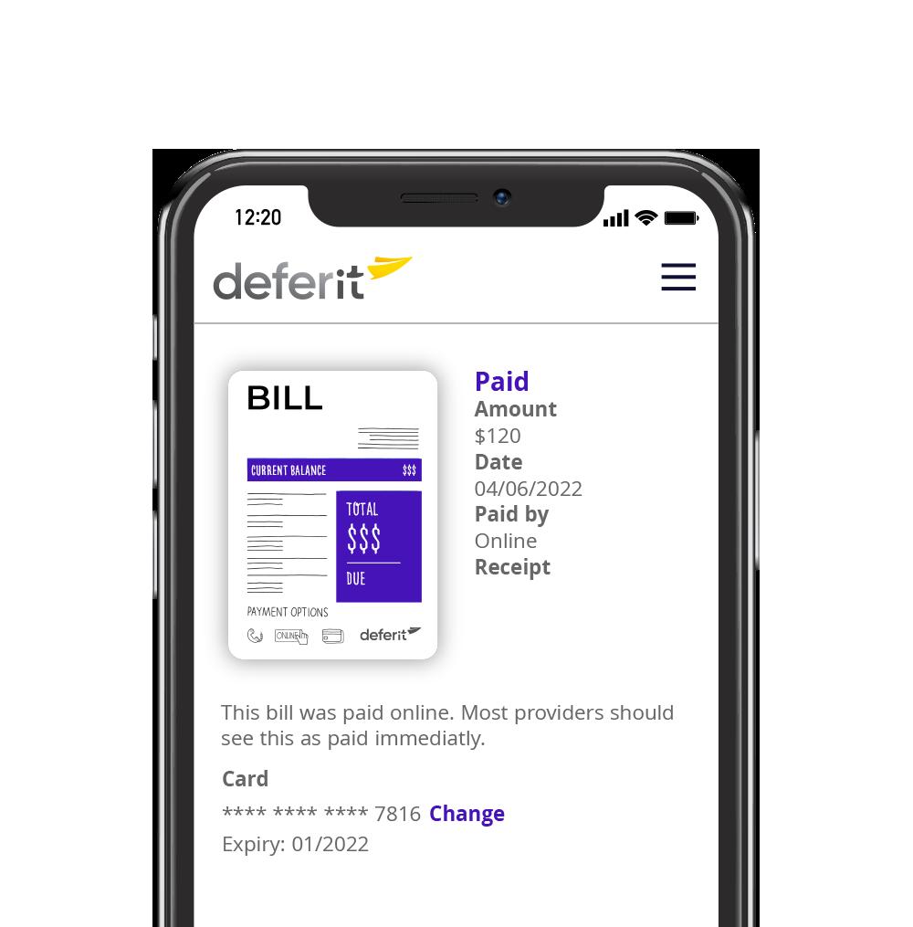deferit app view bills